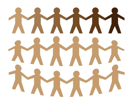 Illustration of brown paper man holding hand Vectores