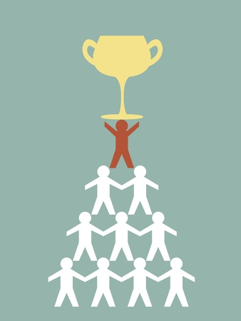 Illustration of teamwork paper man hold a cup of success Vector