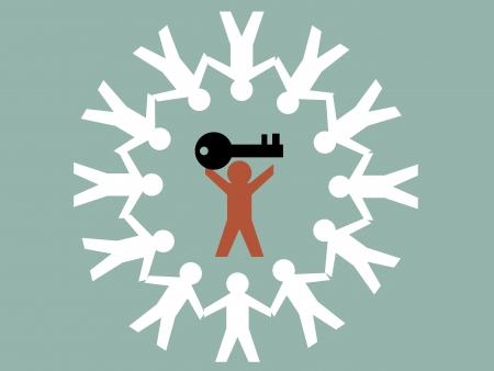 Illustration du travail d'équipe homme de papier détiennent la clé de la réussite Banque d'images - 19617170