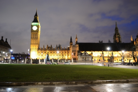 LONDON - DECEMBER 25: Paliament Square at the Christmas night on December 25, 2012 in London Editorial