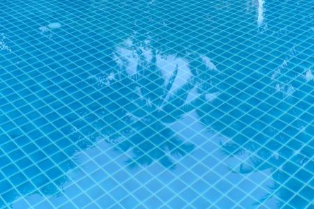 Tiles floor under the pool reflex the tree
