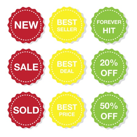 Illustration des différents autocollants icône de la vente Banque d'images - 20666269