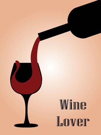 red wine pouring: Illustration of pouring wine from the bottle to the glass