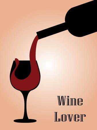 siluetas de enamorados: Ilustración de verter el vino de la botella a la copa Vectores