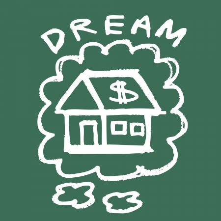 Illustration of hand drawing dream house on the blackboard Vector