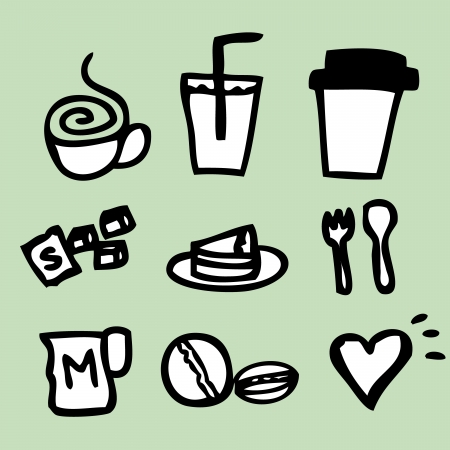 sugar spoon: Illustration of icons about coffee in hand draw style