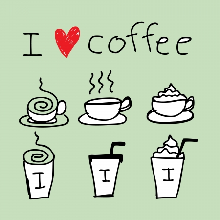 cream paper: Illustration of icons about coffee in hand draw style