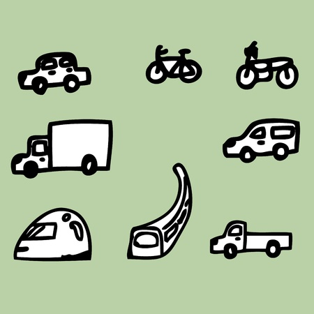Illustration of hand drawing the vehicle icons Stock Vector - 20881276