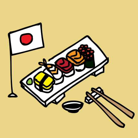 Illustration of a set of hand draw sushi Vector