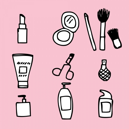 Illustration of cute hand drawn cosmetics icon