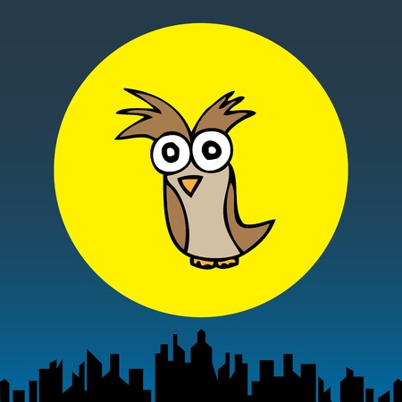 Illustration of hand drawn cartoon owl in the cityscape background Vector