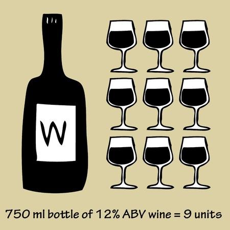 Illustration of wine unit hand drawn infographic