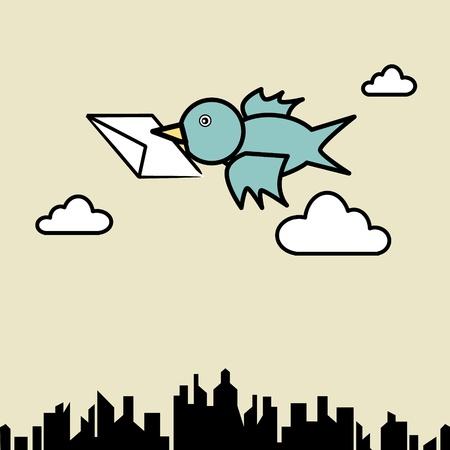 sender: Illustration of bird sending letter fly over the city