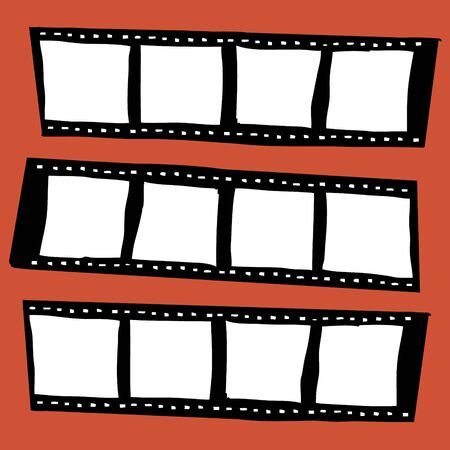 film production: Illustration of hand drawn blank film tape
