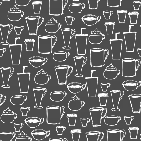Illustration of hand drawn seamless coffee cup icons background Illustration