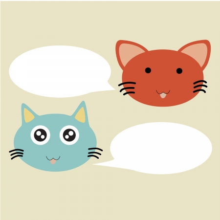 Illustration of cartoon cats talking with blank balloon Vector