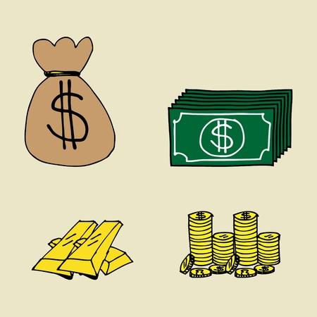 hand drawn cartoon: Ilustraci�n de dibujado a mano iconos de las finanzas de dibujos animados Vectores