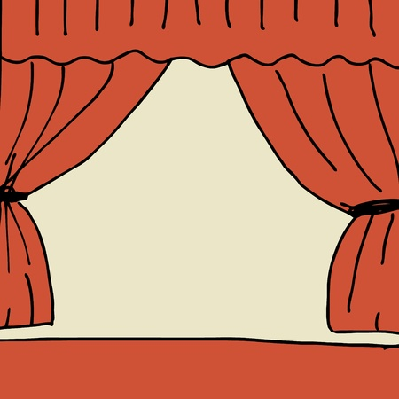 Illustration of hand drawn stage with curtain Illustration