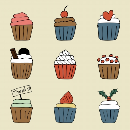 Illustration of hand drawn lovely cupcakes icons Vector