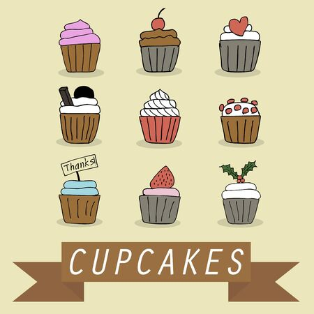 Illustration of hand drawn lovely cupcakes icons