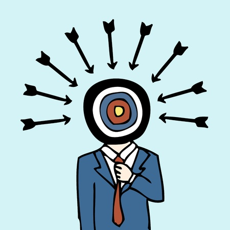 target thinking: Illustration of hand drawn businessman with target dartboard head