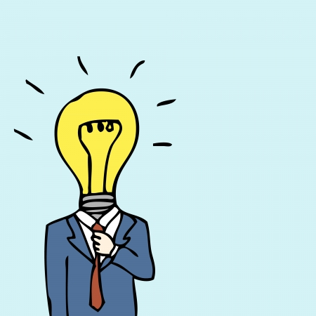 Illustration of hand drawn businessman with lightbulb head Vector