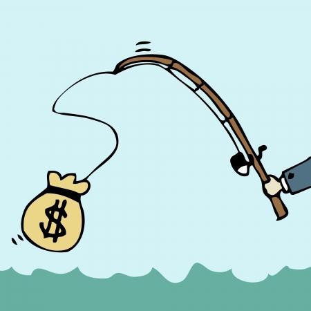 Illustration of cartoon businessman fishing money bag