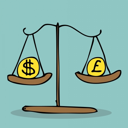 to weigh: Illustration of hand drawn scale weigh currency