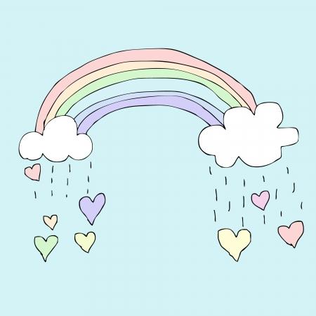 Illustration of hand drawn rainbow with falling heart Stock Illustratie