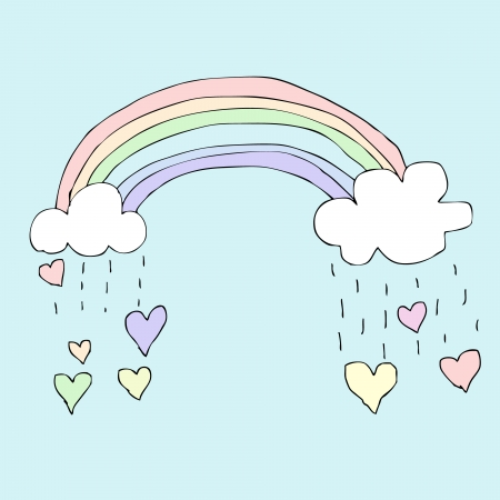 Illustration of hand drawn rainbow with falling heart Illustration