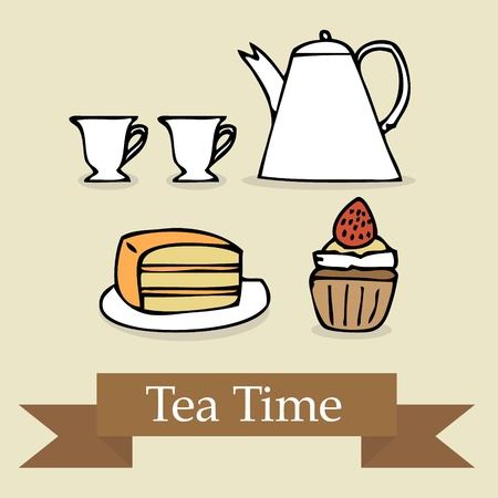 Illustration of hand drawn tea set icons Vector