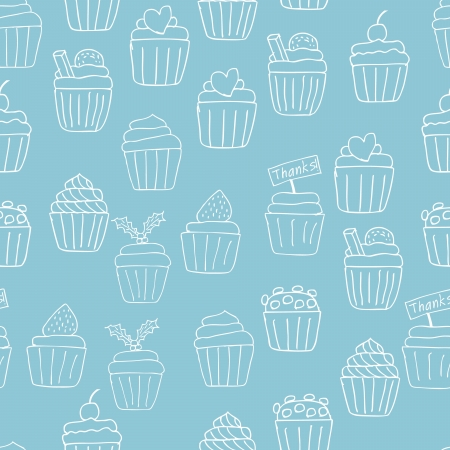 Illustration of hand drawn lovely cupcakes icons seamless background