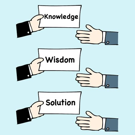 Illustration of business cartoon hand giving knowledge,wisdom and solution Illustration