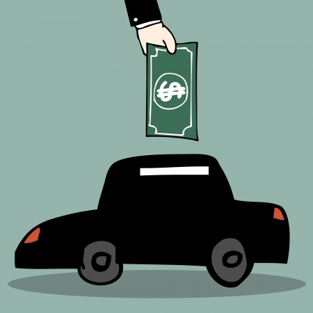 Illustration of hand drawn car piggy bank Vector