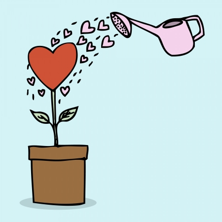 Illustration of hand drawn heart shape plant Vector