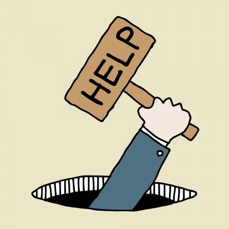 help wanted sign: Ilustraci�n de dibujado a mano empresario signo ayuda holding