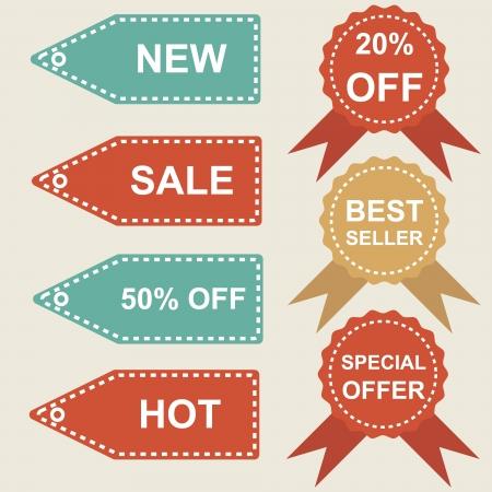 Illustration of set of retro price label
