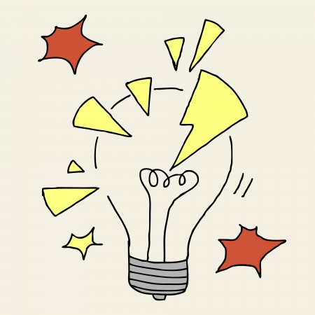 short break: Illustration of hand drawn cartoon lightbulb cracked