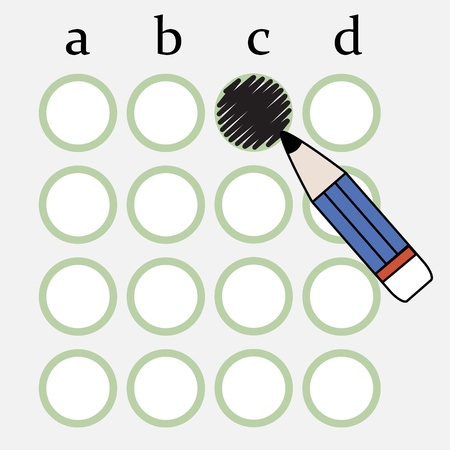 Illustration of pencil fill the circle of answer sheet