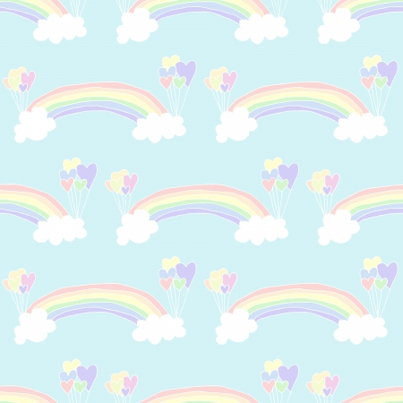 Illustration of hand drawn seamless pastel rainbow background Vector