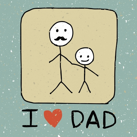 Illustration of hand drawn dad and kid Vector