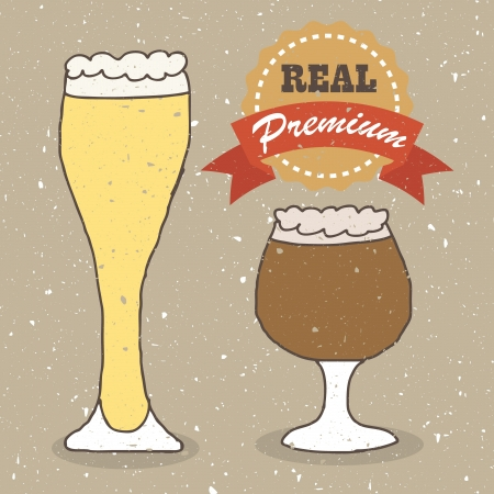 ale: Illustration of vintage hand drawn real ale and lager beer Illustration