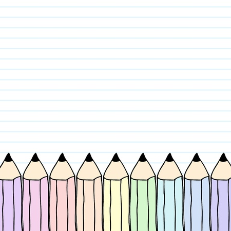 lgbt: Illustration of black notebook with hand drawn rainbow pencils