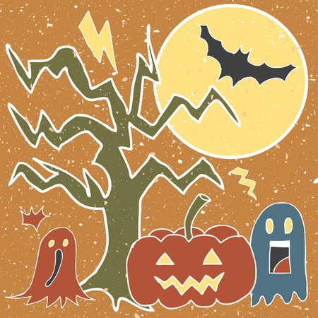 Illustration of cartoons in halloween at grunge night background Illustration