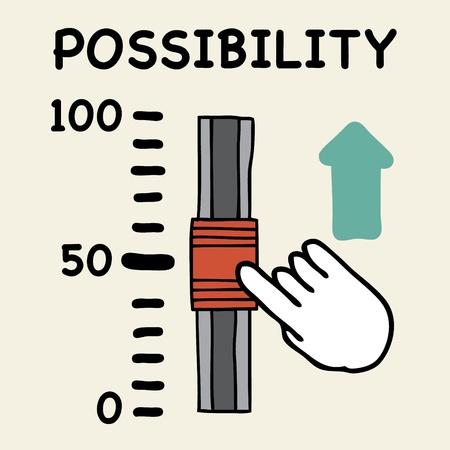possibility: Illustration of cartoon hand push the switch possibility Illustration