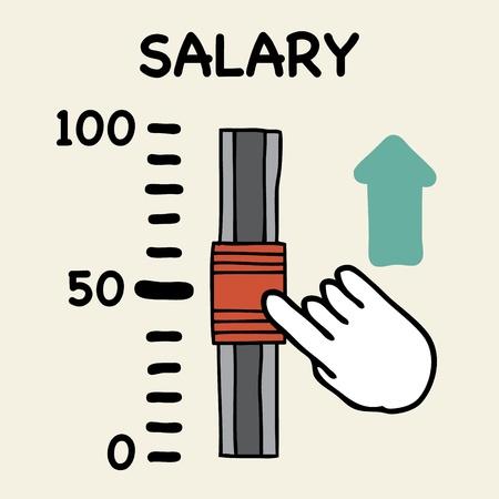 Illustration of cartoon hand push the switch salary