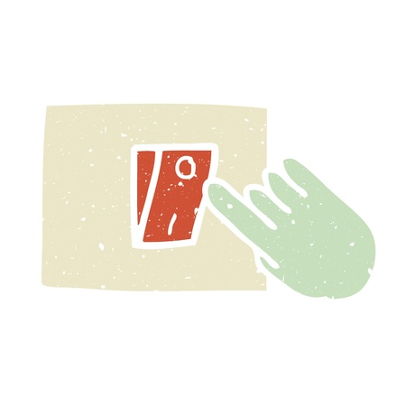 Illustration of hand press the switch on the wall Vector