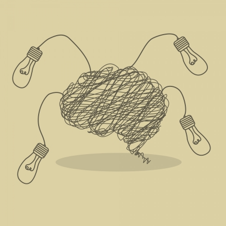 Illustration of messy wire brain with lightbulb