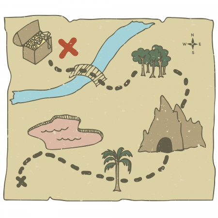 Illustration of hand drawn treasure map with path to treasure Illustration