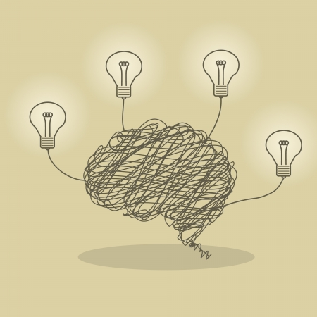 Illustration de cerveau de fil et ampoule lumineuse Banque d'images - 21729608